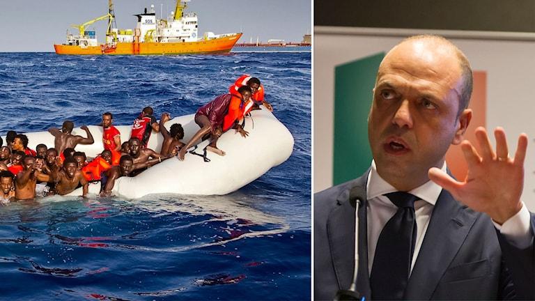 Delad bild: gummibåt full med migranter och en man som håller upp en hand.