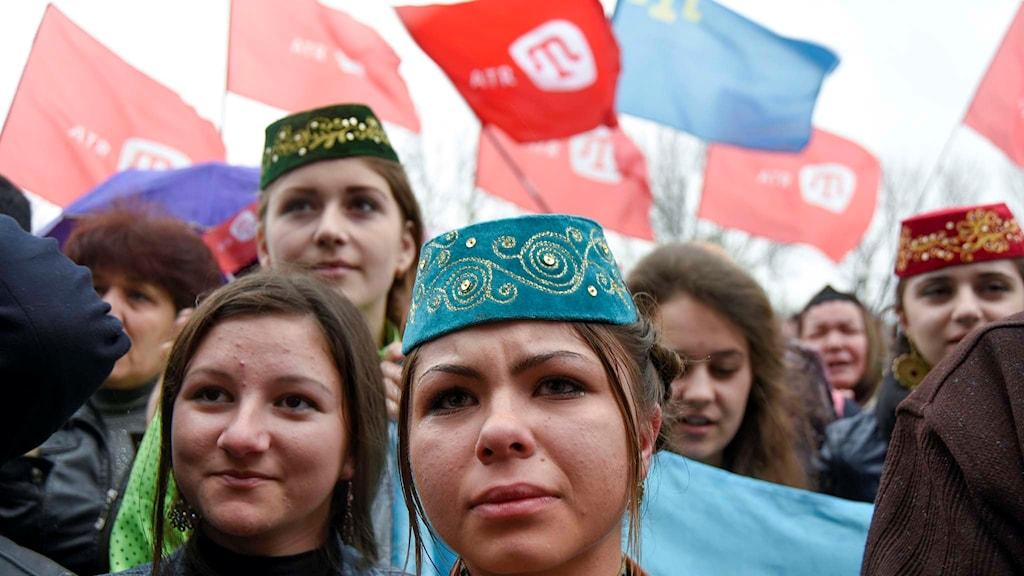 Demonstration till stöd för den krimtatariska tv-kanalen ATR.
