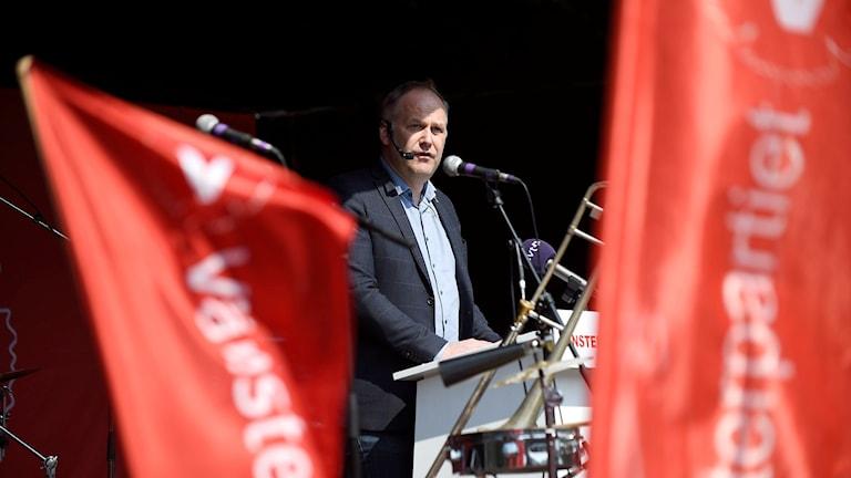 Vänsterpartiets ledare Jonas Sjöstedt talade i Malmö.
