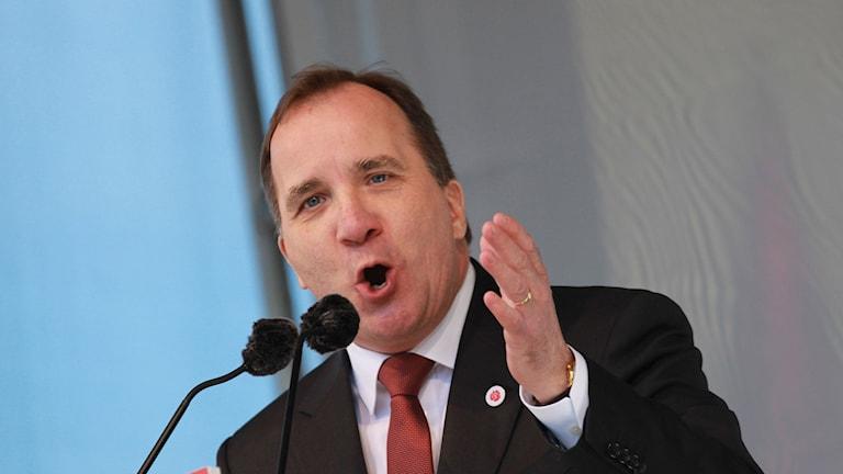 Socialdemokraternas partiledare Stefan Löfven håller tal i Göteborg.