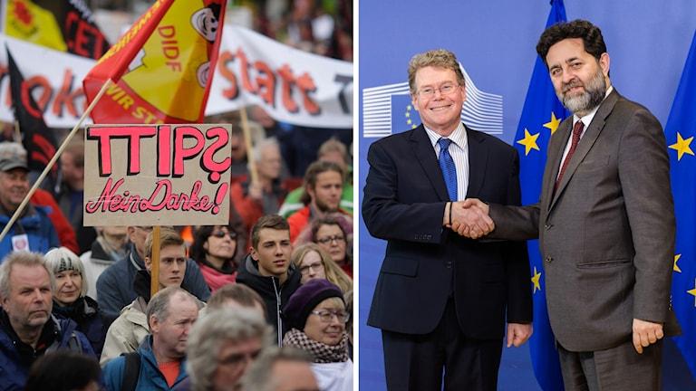 Demonstration mot TTIP och USA:s och EU:s chefsförhandlare i frågan