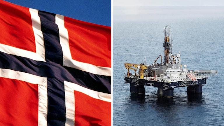 Norsk flagga och oljerigg