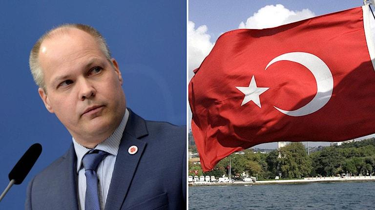 Justitieminister Morgan Johansson och Turkiets flagga