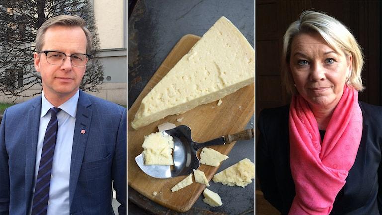 Tredelad bild: Mikael Damberg, Västerbottensost och Monica Mæland.