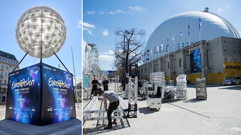 Eurovisionloggan och Globen.