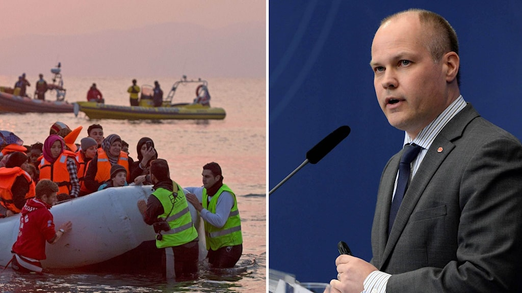 Migrationsminister Morgan Johansson och flyktingar