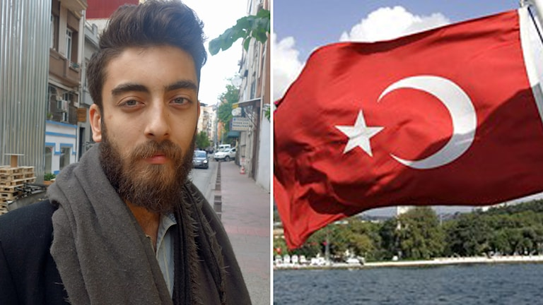 Man med skägg, turkisk flagga.