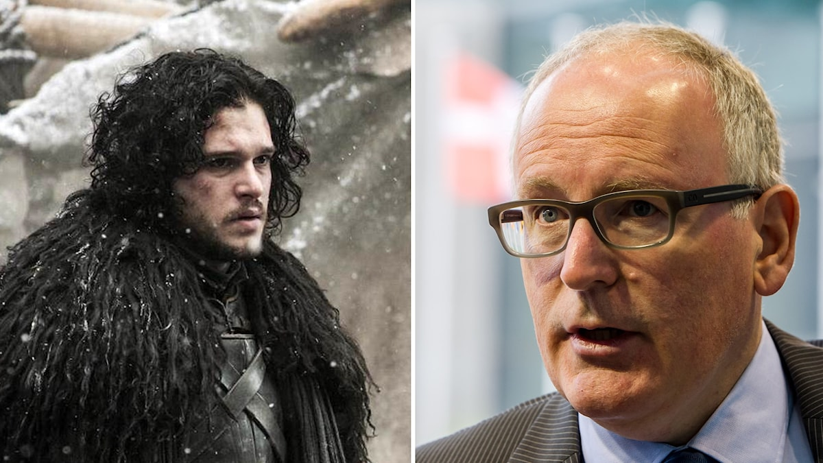 jon Snow i Game of Thrones och EU-kommissonens vice ordförande Frans Timmermans