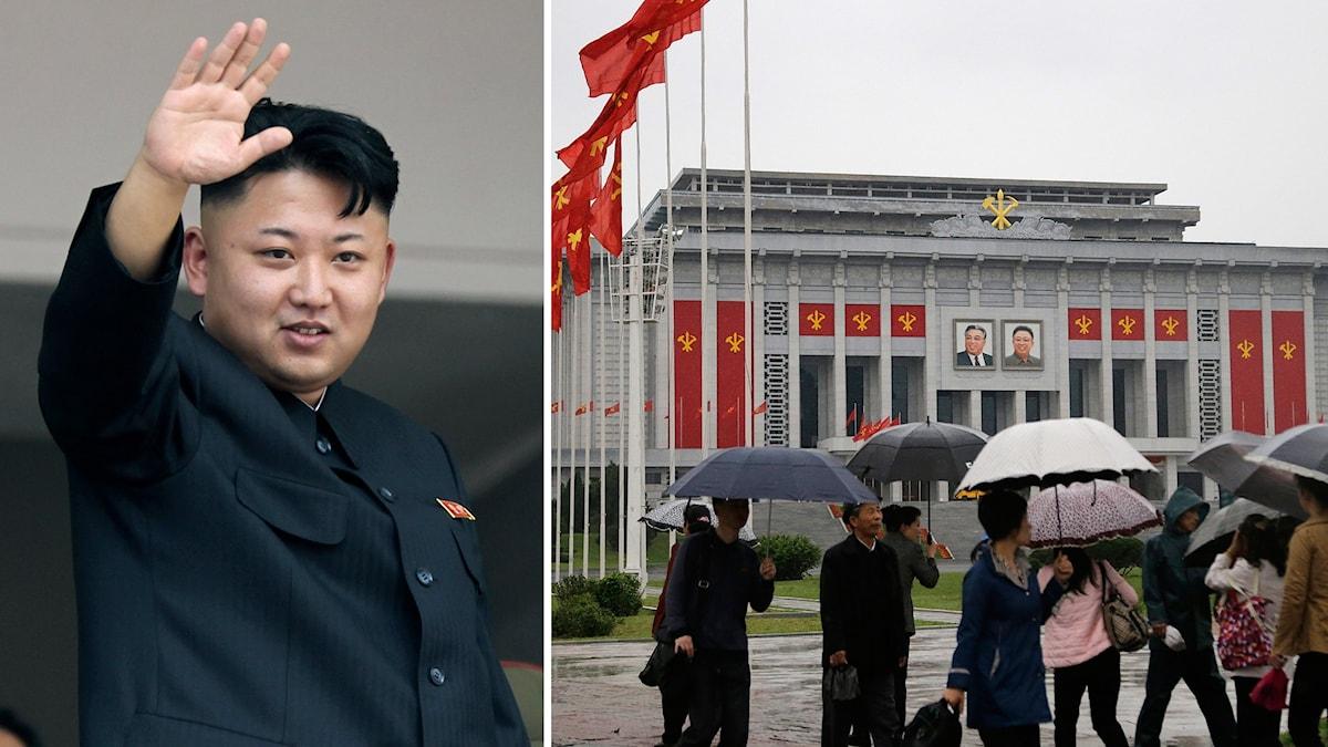 Kim Jong Un hälsar med handen i luften.