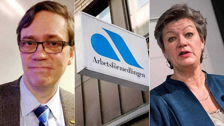 Jonas Frycklund, tillförordnad chefsekonom på Svenskt Näringsliv, och arbetsmarknadsminister Ylva Johansson.