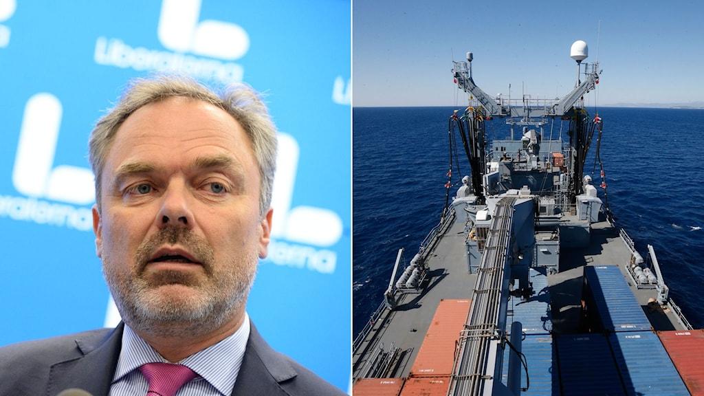 Liberalernas partiledare Jan Björklund. Till vänster tyskt natokrigsskepp.