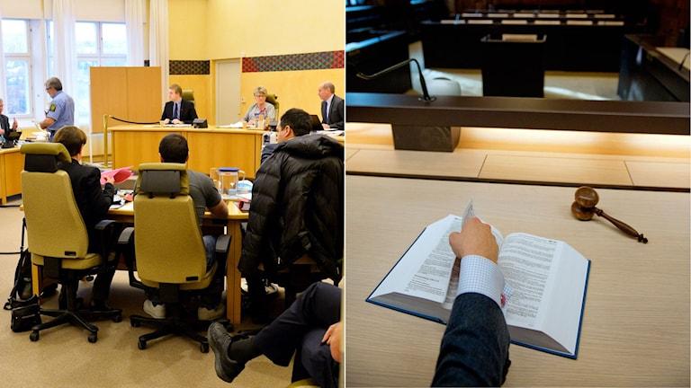 Rättegångssal i samband med förhandling. Lagbok och domarklubba i rättssal.