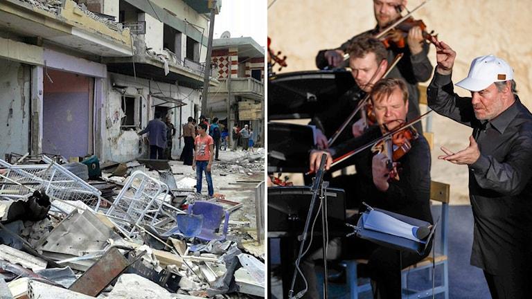 Medan våldet rasade i norr, så uppträdde i går en symfoniorkester i de romerska ruinera i Palmyra.