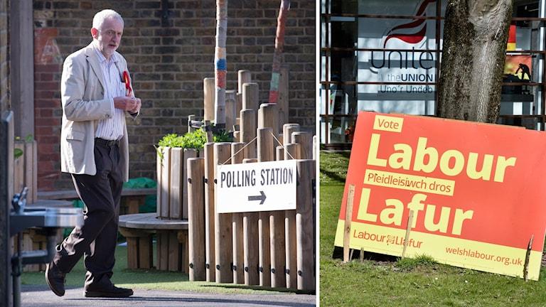 Laborledaren Jeremy Corbyn på väg att rösta.
