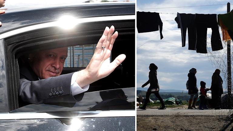 Turkiets president Tayyip Erdoğan i en bil