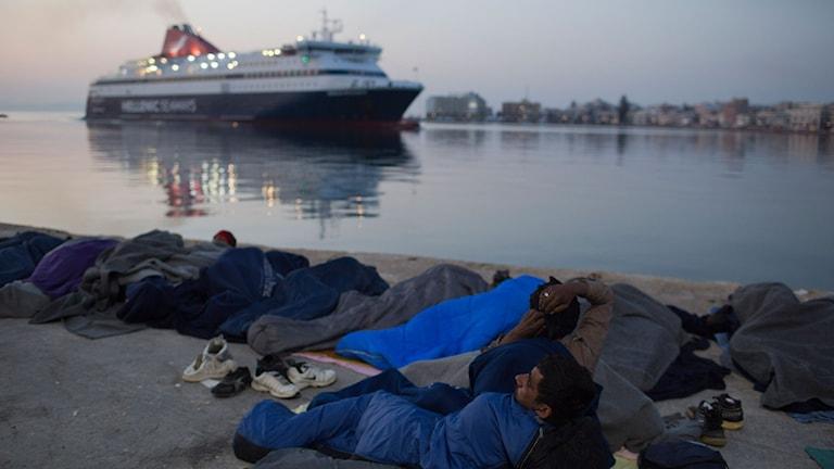 Asylsökande på den grekiska ön Chios.