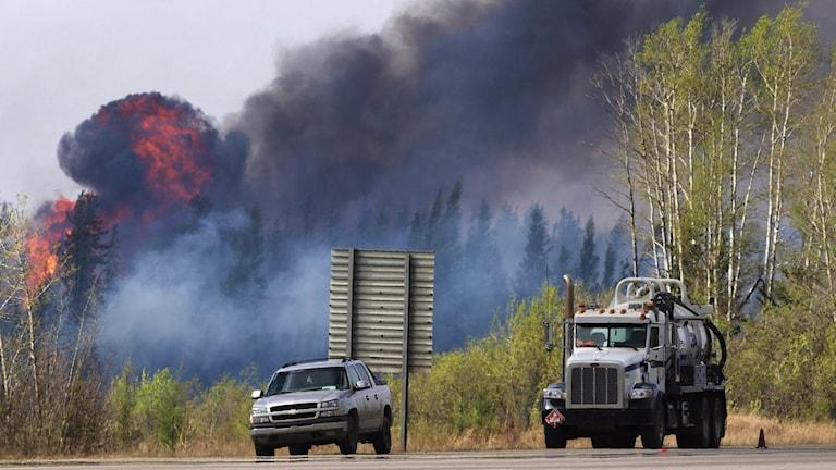 Kanada brand bilar framför lågor