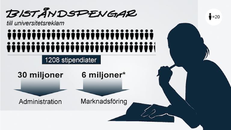 Grafik visar 1208 stipendiater. Pilar från dessa visar 30 miljoner till administration och 6 miljoner till marknadsföring. Grafik: Susanne Lindeborg/Sveriges Radio.