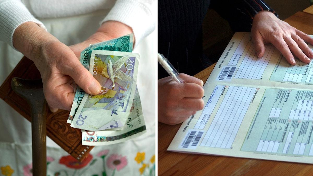 Äldre hand med pengar och en som deklarerar.
