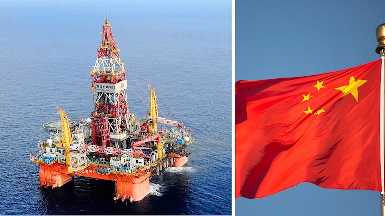 Bild på oljeborr och Kinas flagga.