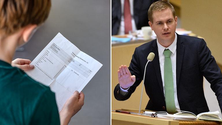 Pojke håller ett betyg i sin hand. Gustaf Fridolin under en riksdagsdebatt.