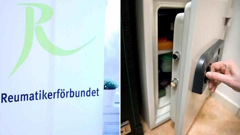 Bildsplit mellan Reumatikerförbundets logga och ett kassaskåp som någon öppnar.