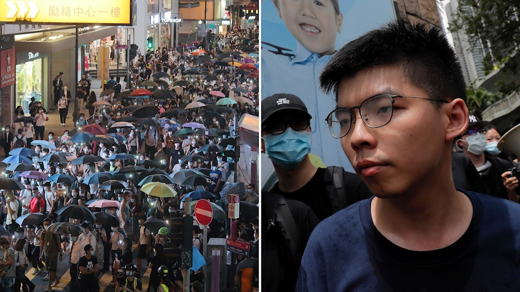 Aktivisten Joshua Wong (t.h) kritiserar lagen.