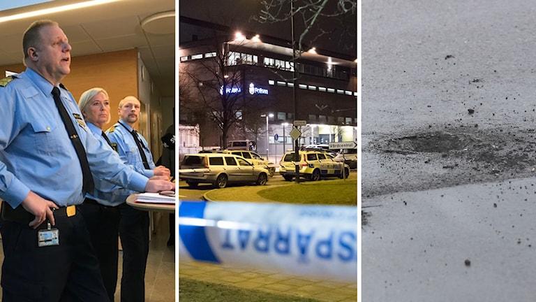 Polisen höll pressträff efter attentatet mot polishuset i Rosengård.