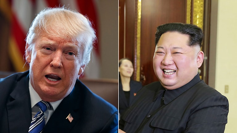 USA:s president Donald Trump, till höger nordkoreas ledare Kim Jung-Un.
