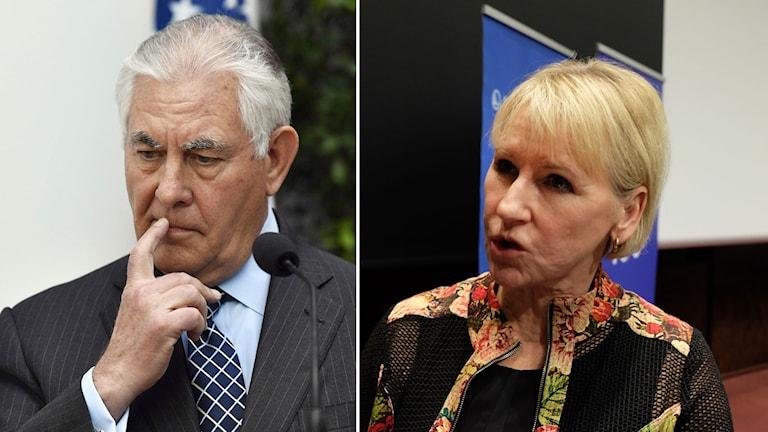 USA:s utrikesminister Rex Tillerson och Sveriges utrikesminister Margot Wallström