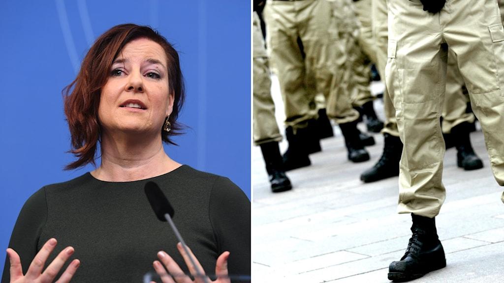 Den nationella samordnaren mot våldsbejakande extremism, Anna Carlstedt, och en bild på flera personer i kängor på ett torg.