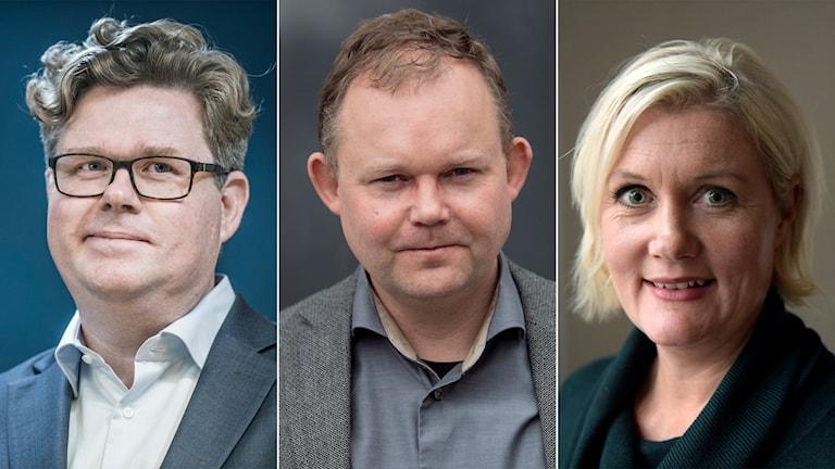 Moderaternas partisekreterare Gunnar Strömmer, statsvetaren Henrik Ekengren Oscarsson och Socialdemokraternas partisekreterare Lena Rådström Baastad.