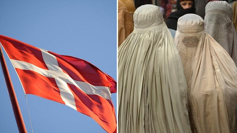 Dansk flagga och kvinnor i burka.
