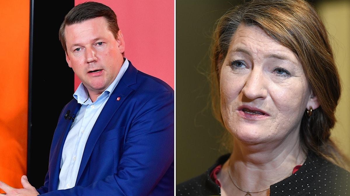 Tobias Baudin, ordförande Kommunal och Susanna Gideonsson, LO-ordförande.