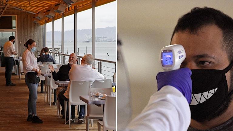 Restaurang i Kalifornien och man som får sin temperatur avläst