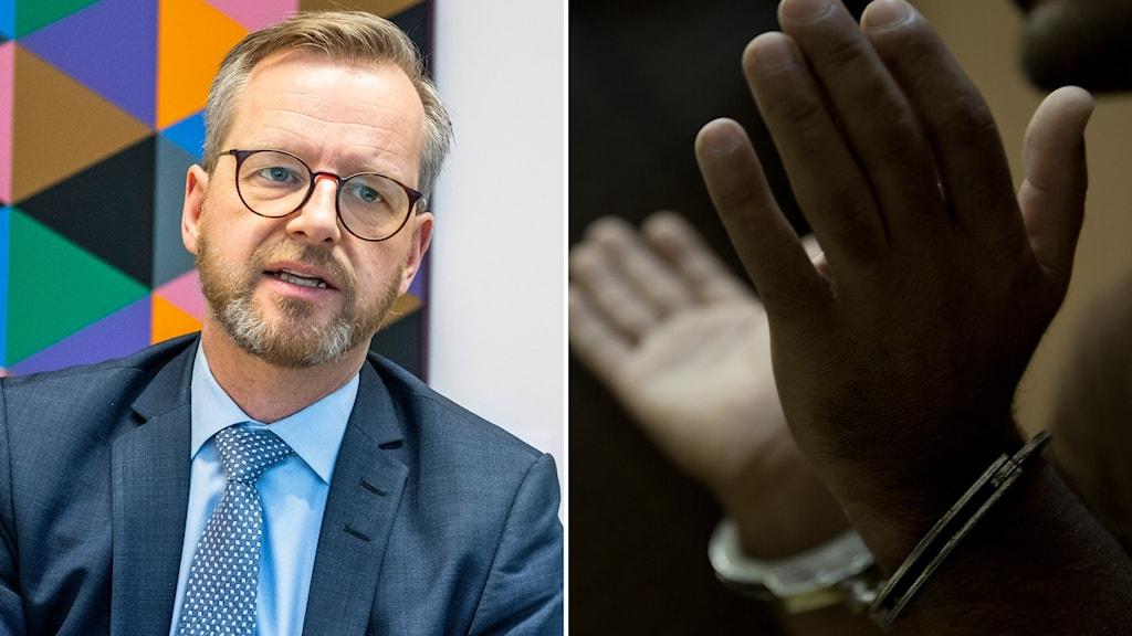 Mikael Damberg och en fånge som stridit för IS.