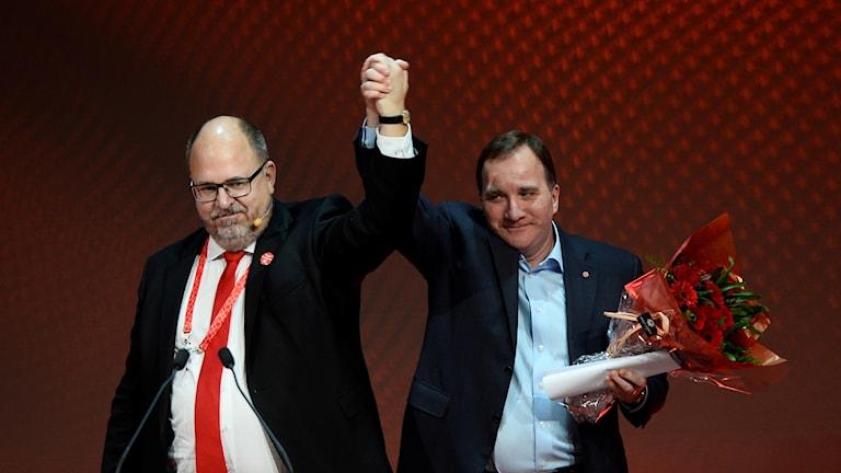 LO:s Karl-Petter Thorwaldsson och Socialdemokraternas Stefan Löfven.