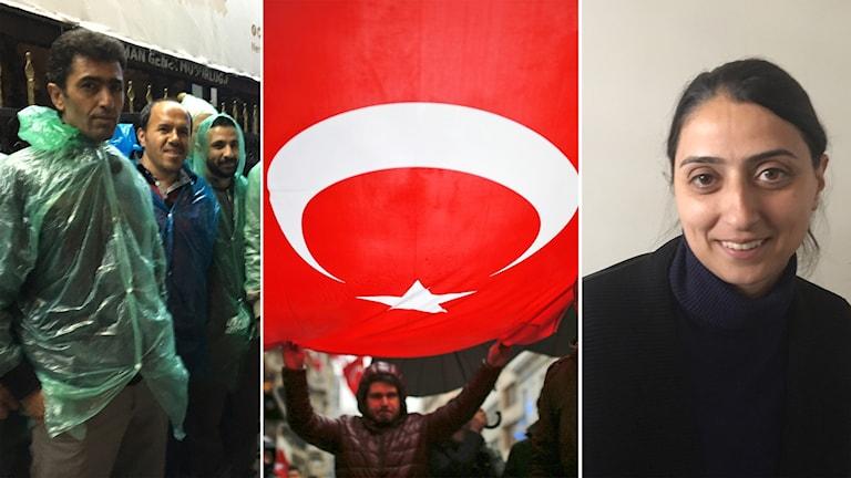 Trogna Erdoğan och AKP-supportrar kritiska mot Europa till vänster och Feliknas Uca, HDP parlamentariker till höger.