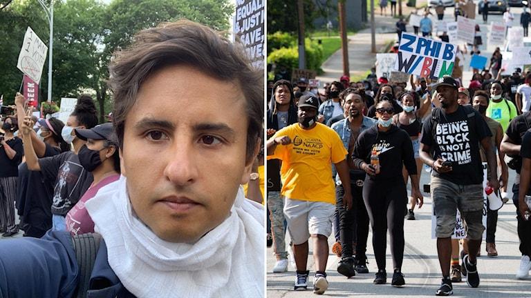 Till vänster: Ekots USA-korrespondent Fernando Arias. Till höger: demonstrationer i Atlanta.