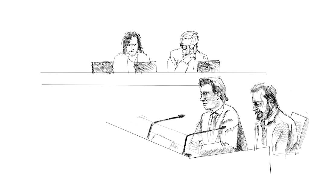 Teckning från inledningen av rättegången mot den man som misstänks för dubbelmordet i Linköping 2004