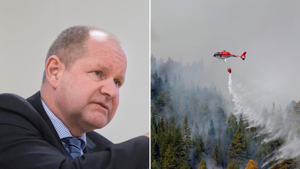 Dan Eliasson och en helikopter som släcker en brand.