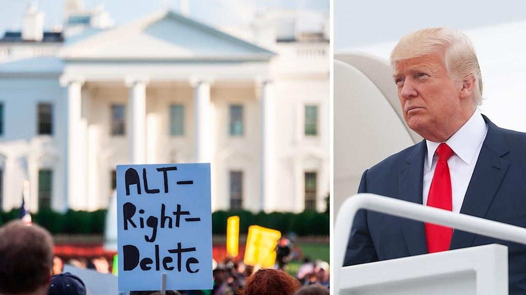 Protester utanför Vita huset. t.h. Donald Trump.