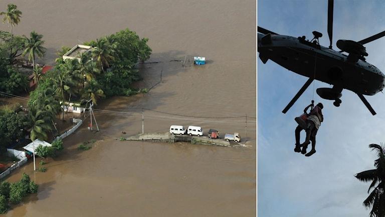 Översvämningar i Kerala i Indien.