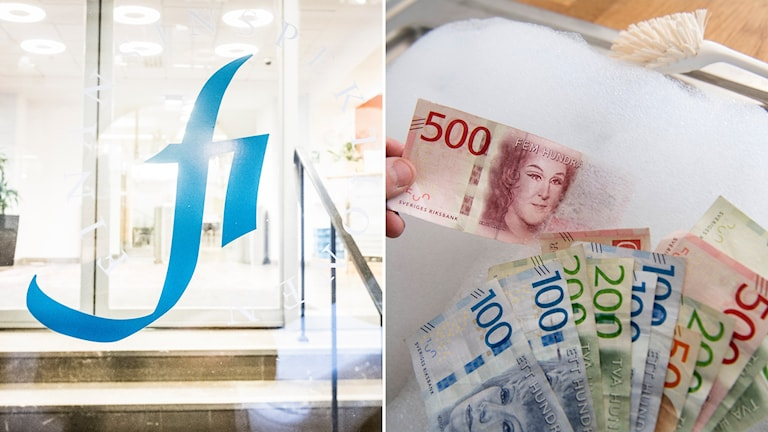 Finansinspektionens logotyp och genrebild på penningtvätt.