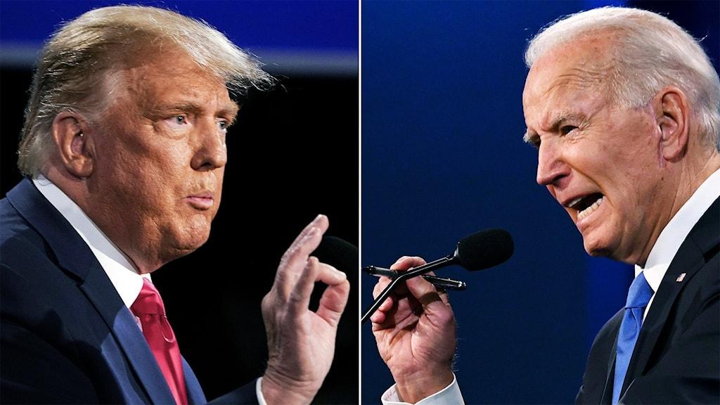 Donald Trump och Joe Biden i debatt