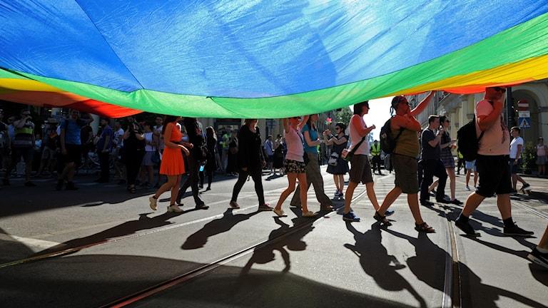 Arkivbild. Prideparad i Warszawa.