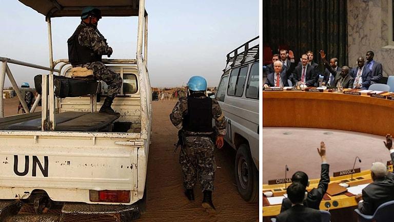 Soldater ur den fredsbevarande Unamid-styrkan i Darfur. FN:s säkerhetsråd.