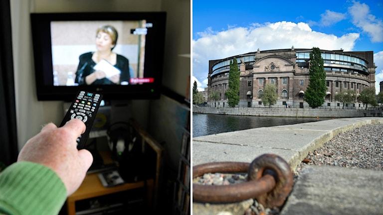 Bild på tv-kontroll samt bild på riksdagshuset.