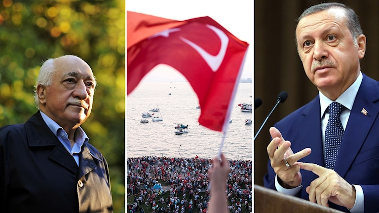 Fethullah Gulen och President Erdogan. Foto: Selahattin Sevi/TT, Kayhan Ozer/TT.