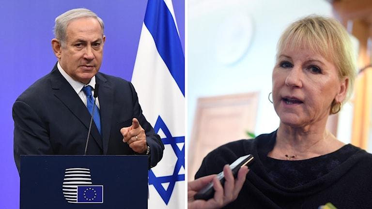 Benyamin Netanyahu och Margot Wallström